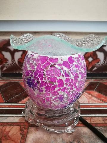 Đèn xông tinh dầu pha lê hồng tím 003